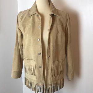 ✨HP✨Gap Girl's Suede Fringe Jacket XL 12
